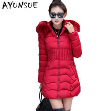 2017 New Fashion Winter Jacket Women Coat Big Fur Collar The North Warm Casacos Parkas Largas Mujer Invierno WD0148