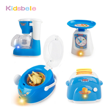 Toys For Children Pretend Play Mini Kitchen Set Cooking Toys Electronic Simulation Microwave Ovens Coffee Machine Kids Toys