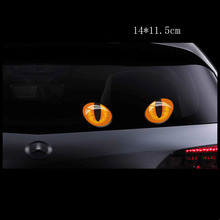 Car Decals Cat Eye Reflection Body Rearview Mirror Window Stickers For Mercedes Benz VW Auto 3D VinyI Reflective Funny Sticker