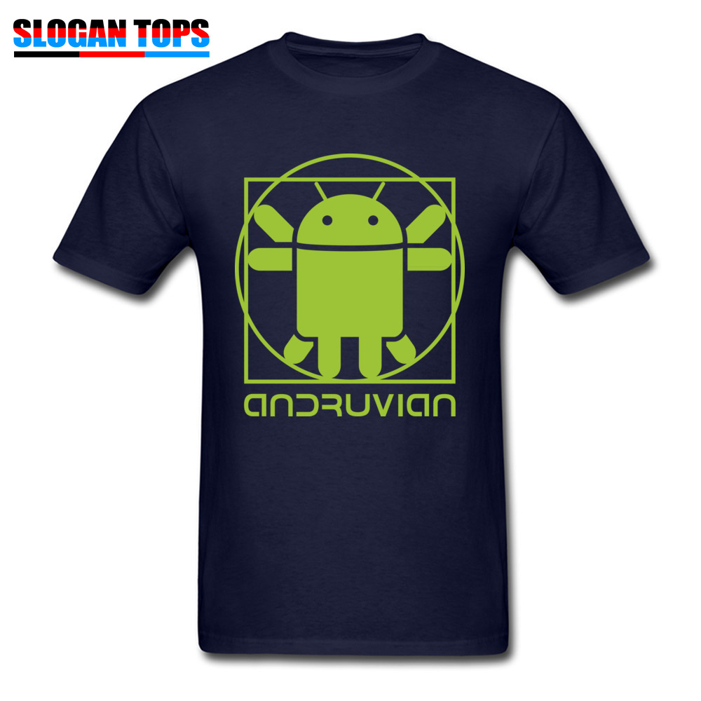 Vitruvian Droid green Men Funny Gift Tops & Tees O-Neck Summer Cotton T Shirts Summer Short Sleeve Tee Shirt Free Shipping Vitruvian Droid green navy