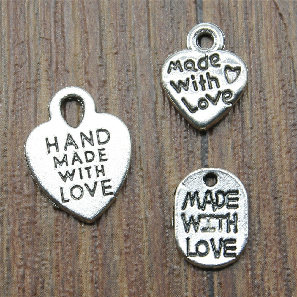 10Pcs silver love heart beads metal charms words handmade charm pendant jewelryP