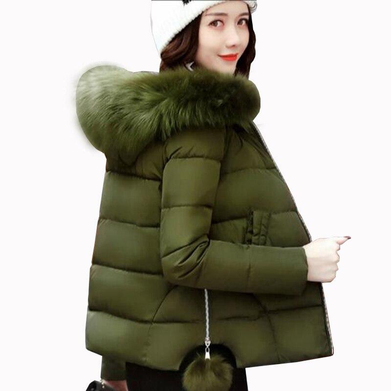 2017 Autumn Winter Jacket Women Parkas for Coat Fashion Female cotton Jacket With Hooded big Fur Collar casual slim Coat QH0587Îäåæäà è àêñåññóàðû<br><br>