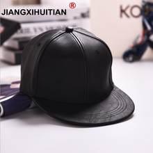 Negro de cuero de la PU de la gorra de béisbol Unisex Casual hebilla Hip  Hop Rap 5 Panel sol Snapback sombreros de las mujeres d. 2c89f69e5f7