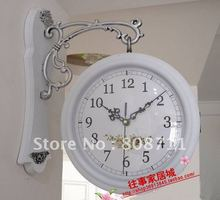 Opening Sale- 25%OFF. European garden style iron wall clock with double faces, two sides wall clock+ FREE SHIPPING