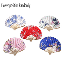 Chinese Japanese Flower Blossoms Carved Hand Fan Fabric Floral Pocket Fan Folding Hand Held Fan Wedding Party favor Decor Fan(China)