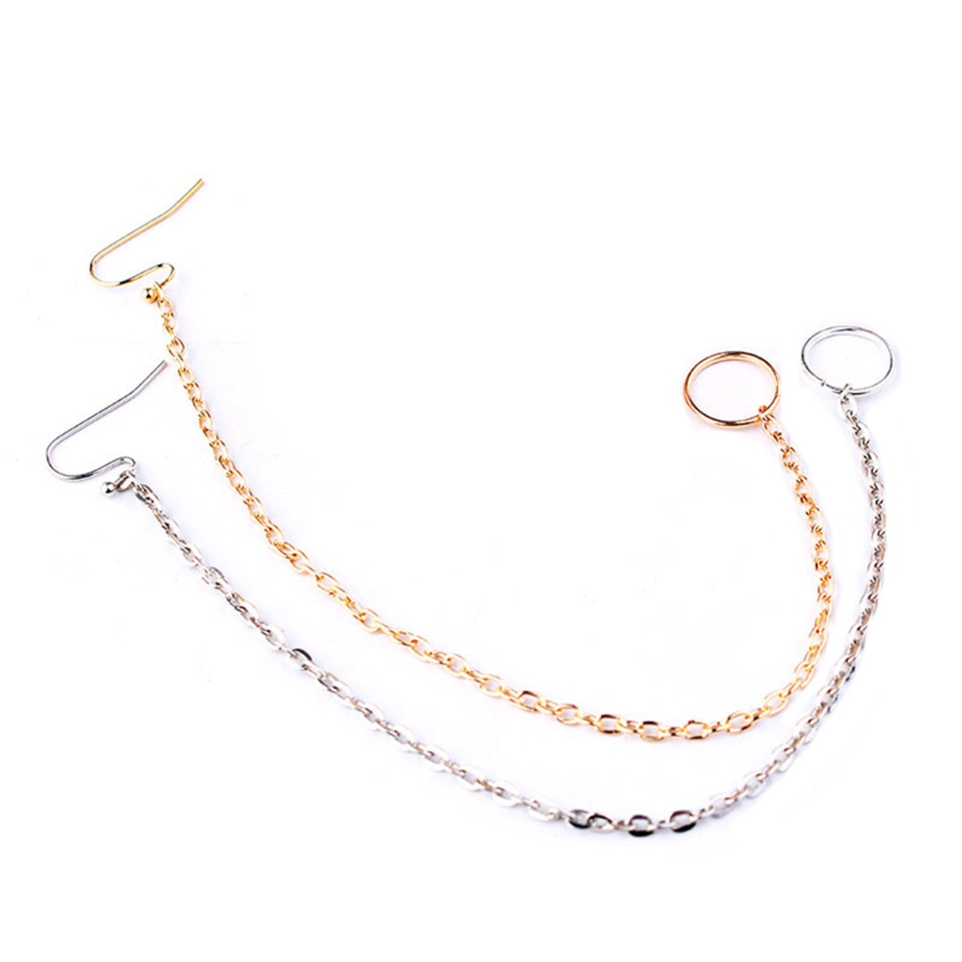 Punk Ethnic Silver Gold Copper Clip On Nose Lip Ear Chain For Women Girl Shellhard Nose Ring Stud Body Piercing Indian Jewelry