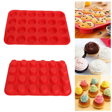 Mini Muffin Cup 24 Cavity Silicone Soap Cookies Cupcake Bakeware Pan Tray Mould Home DIY Cake Tool Mold 33.5cm x 22.5cm x 2.5cm(China)
