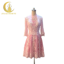 Rhine Real Image Picture hald sleeves Pink Lace and white lace Knee length Evening Dresses