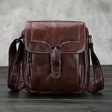 Vintage fashion genuine leather men small business shoulder bags casual travel messenger bags for men with high quality handbags