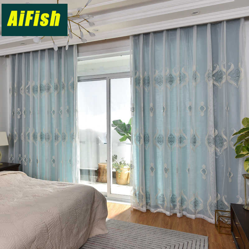European Minimalist Fashion New Embroidered Curtains Living Room Bedroom Kitchen WP294&3