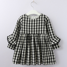 Girls Autumn Dress 2018 New Spring Style Brand Kids Dress Plaid Printed Casual Dress Clothes 3-7Y Baby Striped Clothing Dress