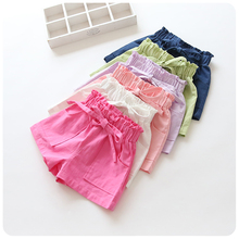 hot sale children shorts candy colors bows baby girls beach shorts kids pants elastic waist casual new summer girls clothes