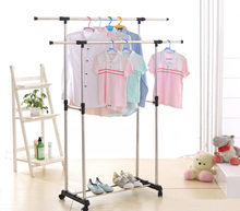 iKayaa US Stock Metal Adjustable Width Double Rail Clothes Garment Dress Hanging Rack Cloth Display Satnd Organizer + Shoes Rack