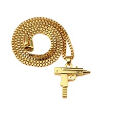 New Fashion Men's Machine Gun Pistol Pendant Necklace  Golden Stainless Steel Hip Hop Necklace Jewelry Box Chain