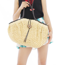 1pc Women Lady Girl Retro Coconut Button Shoulder Bag Large Capacity Beach weaving Straw Woven Tote Handbag EJ641869
