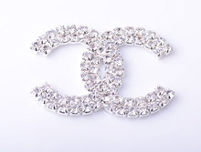 Top Quality Rhinestone Embellishment Button Used On Invitation 55MM 20pcs/lot Silver Tone Flat Back