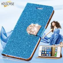KISSCASE For iPhone 7 Plus Wallet Pouch Case Luxury Leather Glitter Crystal Diamond Cover For iPhone 5 5S SE 6 6S Plus 7 Plus