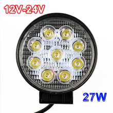 27W LED Work Light 12V IP67 1PCS Spot/Flood Fog Light Off Road ATV Tractor Train Bus Boat Floodlight ATV UTV Work Light