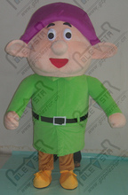 export high quality purple hat green clothes dwarfs costumes the seven dwarfs mascot costume