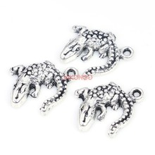 20pcs Antique Silver Plated Crocodile Charms Pendants for Bracelet Jewelry Making Accessories DIY Necklace Craft  14X14mm