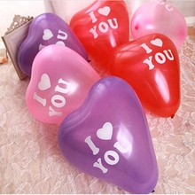 10pcs I Love You Heart Shape Latex Inflatable Balloon for Holidays Classic Magic Toy Inflatable Balls Wedding Party Decorations(China)