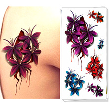 M-theory Blood Flower  3D Temporary Body Art, Flash Tattoo Stickers 19*9cm, Last 3-5 Days Waterproof