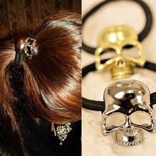 Popular Women Metal Skull Candy Color Elastic Cheap head band hair ring rope Tie Ponytail holder hair accessory Ornament(China)