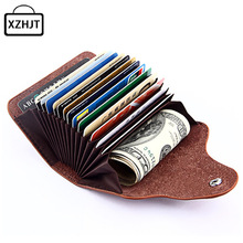 Buy Fashion Genuine Leather Card Holder Women Men Cowhide Rfid Wallet Credit Card Business Card Holders Organizer Bag Purse for $4.58 in AliExpress store