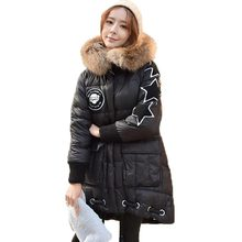 Winter Jacket Women Print Star Long Down Coat Real Fur Collar Hooded Thick White Duck Down Parkas Women Loose Plus Size PW0726