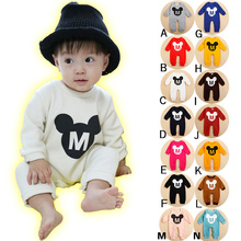 cartoon bodysuits soft solid baby jumpers infant outfits bb pajama baby clothes long sleeve overall