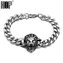 HIP Punk Gothic Stainless Steel Lion Head Bracelets Cuban Link Hand Chain Bangle for Men Jewelry(China)