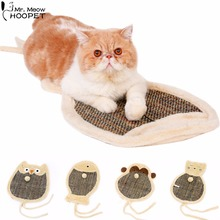 Double Sided Cat Cartoon Scratch Board with Sherpa Ball Toy,Kitten Scratcher Mat Pad Interactive Toy for Pet Training(China)