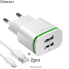 Buy Crouch EU Plug 2 Ports LED Light USB Charger + Cable 5V 2A Wall Adapter Mobile Phone Micro Data Charging iPhone iPad Samsung for $2.39 in AliExpress store