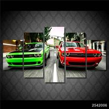 Hd Printed Challenger Green Red Cars Painting Canvas Print Room Decor Print Poster Picture Canvas Free Shipping/Ny-4310 gift