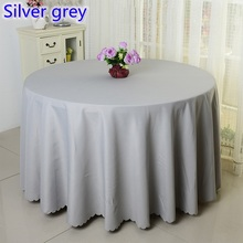 Silver grey solid table cloth,polyester table cover,for wedding,hotel and restaurant round tables decoration,200GSM fabric(China)