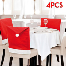 4PCs Fashion Christmas Chair Back Cover Santa Claus Red Hats Decoration For Chair Cover Dining For Wedding Christmas Decoration