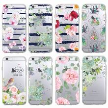 Vintage Floral Cactaceae Cactuses Succulent Bird Stripe Soft Phone Case Fundas Coque For iPhone 7 7Plus 6 6S 6Plus 5 5S SAMSUNG