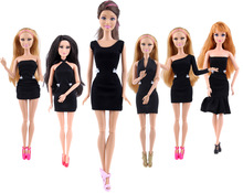 Fashion Outfit 6 Pcs/ Lot Barbie Dolls Lady Black Cool Doll Dresses Handmade Dolls Clothes For Barbie Doll Girl's Gift Kid Toys