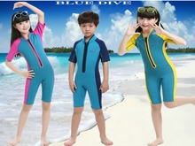 2mm Neoprene Kids Wetsuit Dive Wet Suit Child Swimwear One-piece Short Or Long Sleeved Sunscreen Warm Clothing