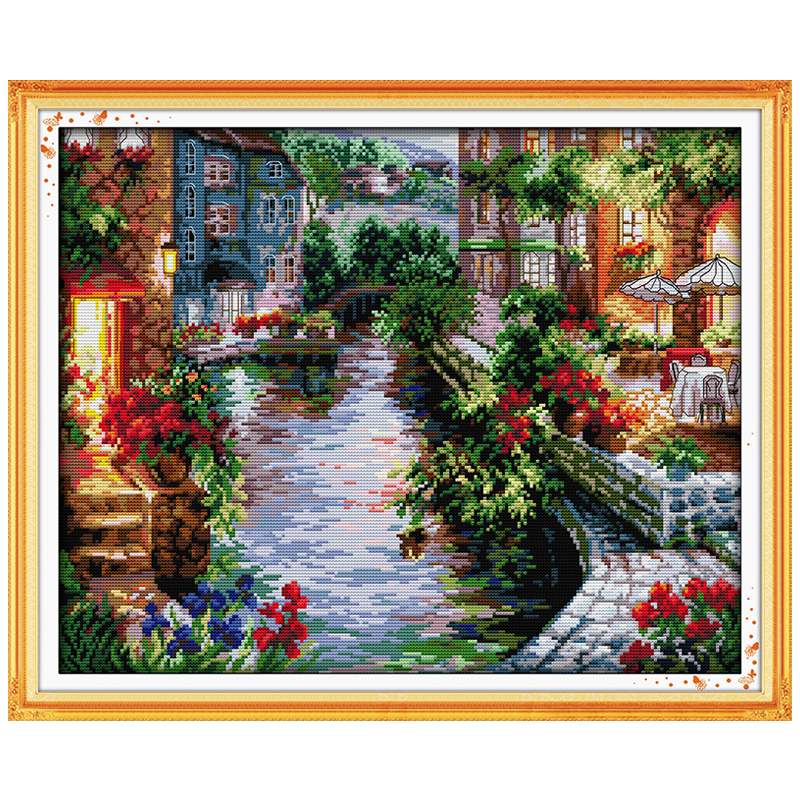 The Lakeside Houses Counted Cross Stitch 11CT 14CT Cross Stitch landscape Cross Stitch Kits for Embroidery Home Decor Needlework(China (Mainland))