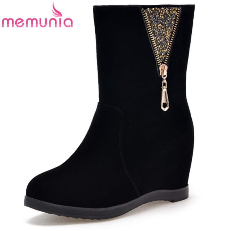 MEMUNIA black height increasing women boots zipper bling flock autumn winter ladies ankle boots round toe fashion new arrive<br>
