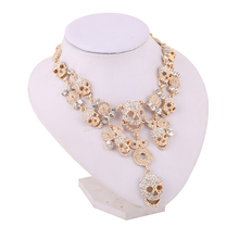 Wedding Gift Multi layer Crystal Long Skull Necklaces Hip Hop Party Collar Chain Chokers for Women's Fashion Jewelry Accessories(China)