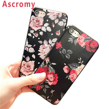 Ascromy For iphone 5 S Case Retro Red Rose Floral Pattern Soft TPU Cover for Iphone5 5S SE 5SE Capa Coque Mobile Accessories(China)