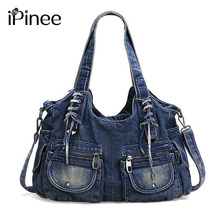 iPinee Fashion Women Bag Vintage Casual Denim Handbag Lady Large Capacity Jeans Tote Weave tape Creative Shoulder Messenger Bag(China)