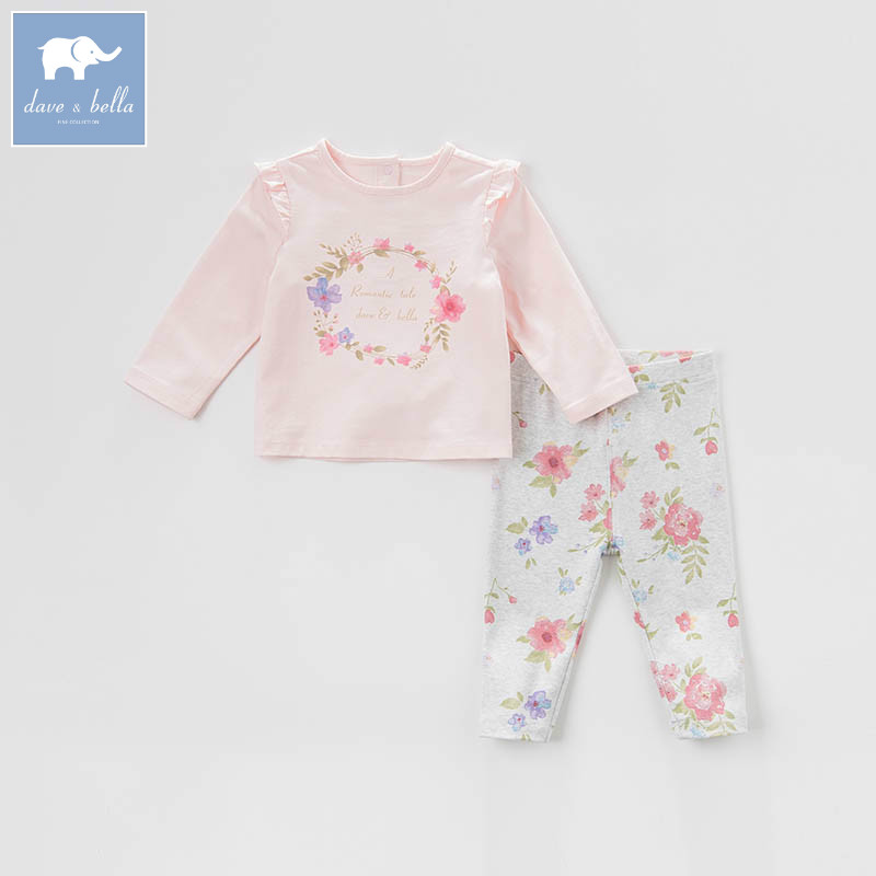 DBM7308 dave bella spring baby girls clothing sets kids floral suit children toddler outfits high quality clothes<br>
