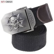 Buy New Arrival Fashion Skull Head Men's Canvas Belt Alloy Buckle Military Belt Army Tactical Belts Male Top Men Strap for $6.49 in AliExpress store