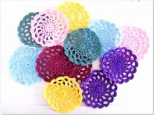 European-style multi-colored cotton round place mats 30pieces hand hook needle
