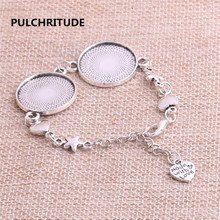 PULCHRITUDE 3pcs 22cm Alloy Antique Silver Chain Bracelet Hand Charm Round Cabochon base Setting Fit 22mm Dia Women Z0023