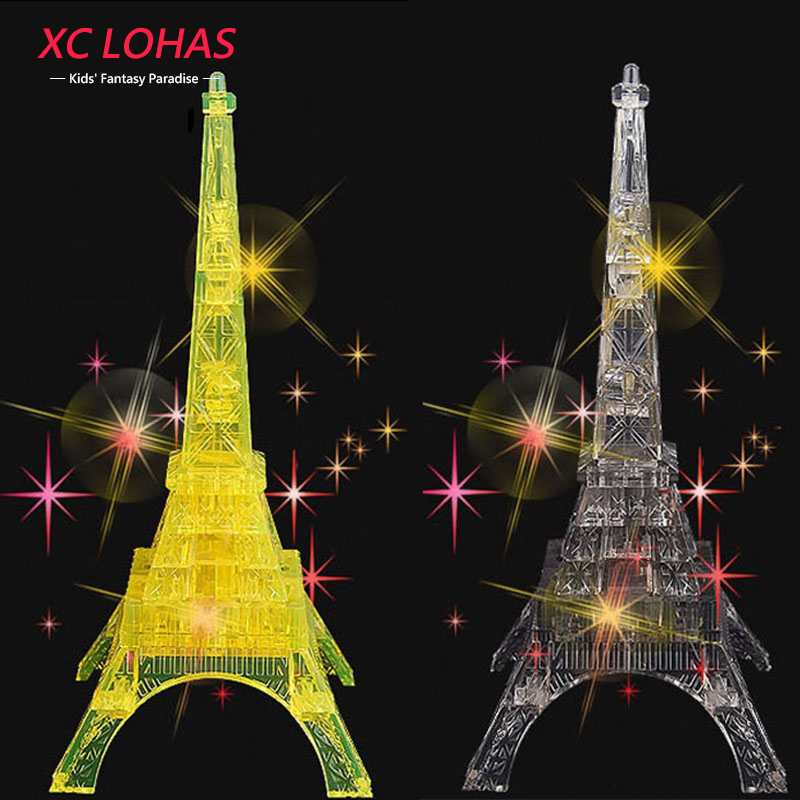 1pcs LED Flash Eiffel Tower 3D Crystal Puzzle DIY Adult Puzzle Jigsaw Puzzle Eiffel Tower Decoration Creative Gift(China (Mainland))
