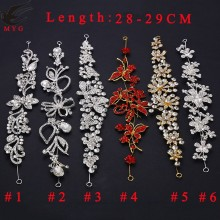 Free Shipping 1pcs 6 styles 11'' Rhinestone Connector Flower Bikini Connector Wedding Bridal Headpiece LSRC112401-1